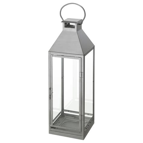 lantern ikea lagrad lantern f block candle in outdoor silver colour 58