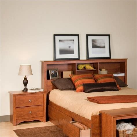 bedroom set with bookcase headboard prepac monterey cherry double or queen bookcase headboard