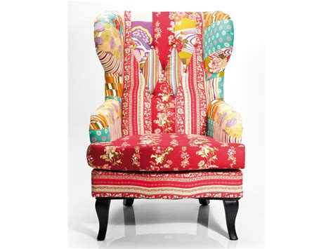 Patchwork Wing Chair - upholstered fabric armchair with armrests wing chair