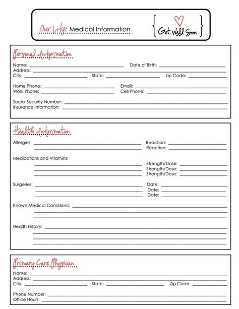 medical information sheet usa pdf pdf family information