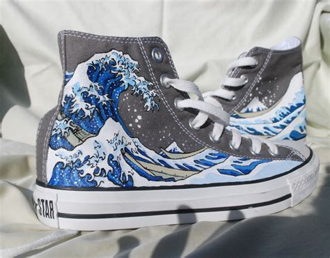 painted converse shoes the great wave by