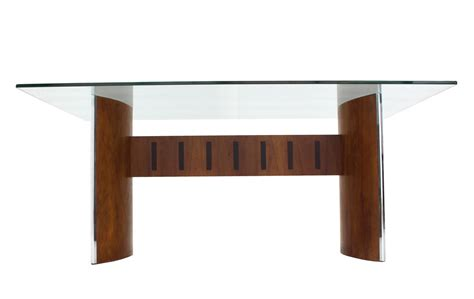 glass top curved walnut base dining table for sale at 1stdibs