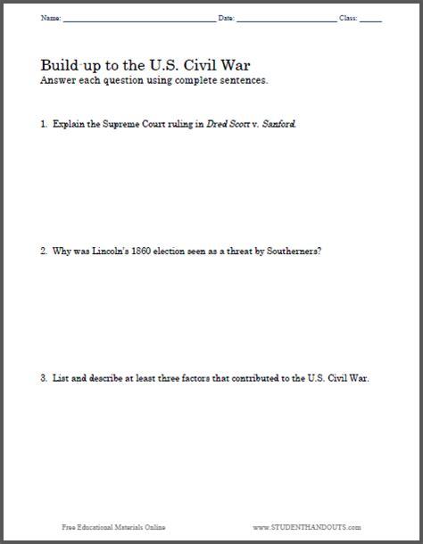 Build Up To The U S Civil War Essay Questions Student