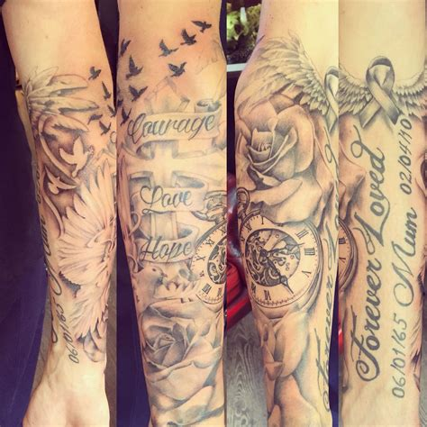 half sleeve tattoo designs family really enjoyed this half sleeve writing not done by me