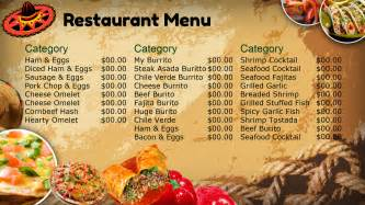 restaurant menu design templates mexican restaurant menu design