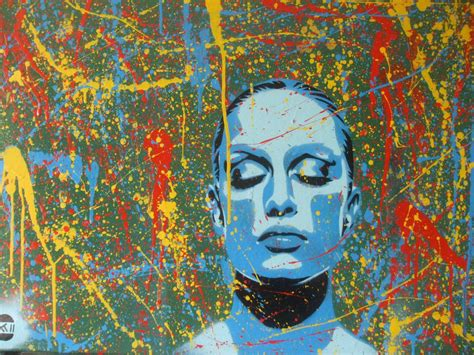 spray paint faces painting of models abstract dreamer spraypaint on
