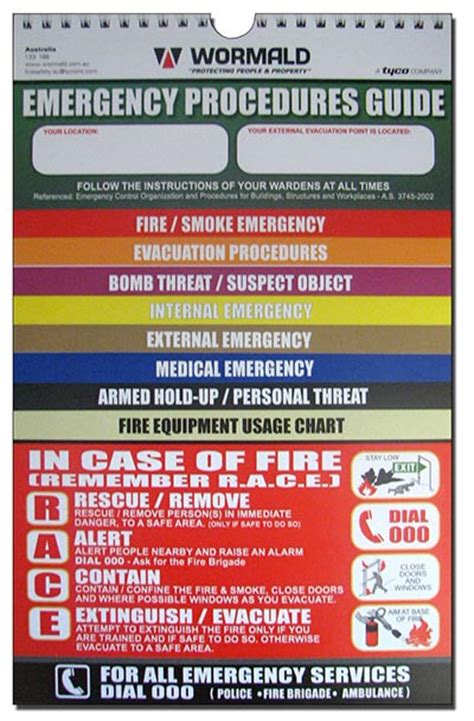 Emergency Procedure Guide Template by Emergency Response Procedures Flipcharts Wormald Australia