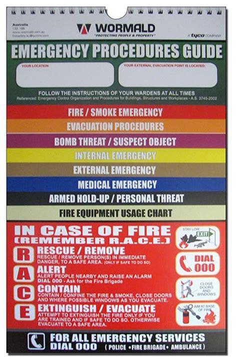 Emergency Procedure Guide Template by Emergency Response Procedures Flipcharts Wormald Australia