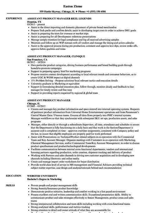 Assistant Product Manager Sle Resume by Assistant Product Manager Resume Sles Velvet