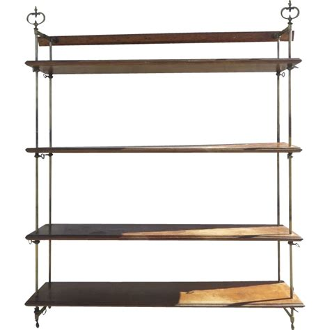 Hanging Shelves Mahogany Hanging Shelves With Brass Uprights From