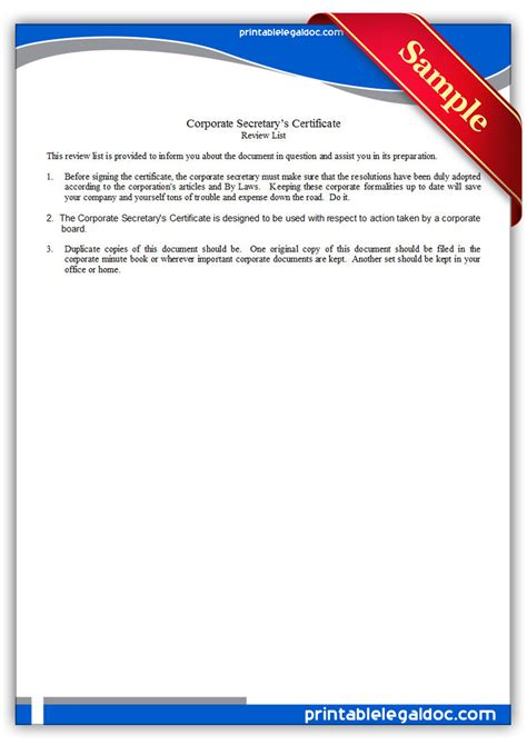 free printable corporate secretary s certificate form