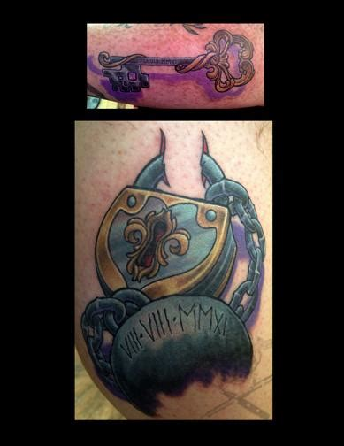 ball and chain tattoo and chain lock and key anniversary tattoos by