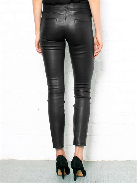 leather pants theory masia leather pants in black lyst
