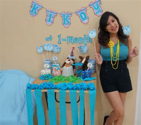 1 Month Baby Celebration - blue themed mini set up for my baby s 1 month