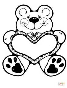 valentine bear coloring page free printable coloring pages