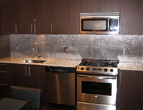 stainless steel kitchen backsplash ideas why a penny backsplash is an unique accent in the kitchen