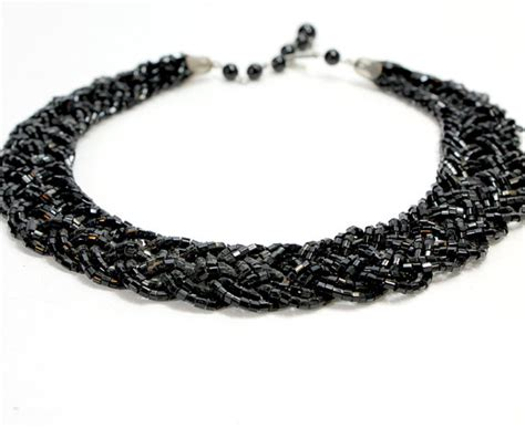 thick beaded necklace items similar to thick black beaded necklace small square