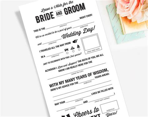 advice cards template wedding mad libs printable template kraft sign card