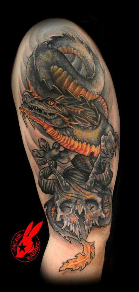 tattoo dragon and skull dragon and skull tattoo by jackie rabbit by jackierabbit12