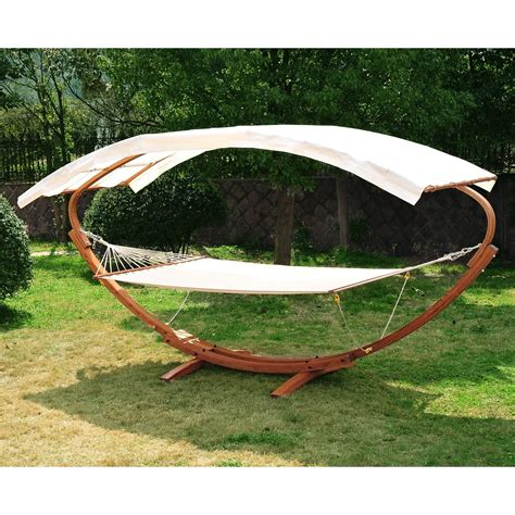 outdoor swing hammock with canopy outsunny wooden hammock arc stand swing bed aosom ca