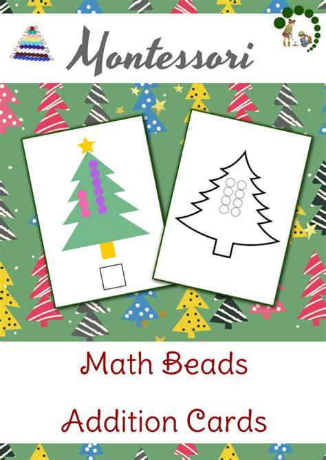 montessori nature free montessori math worksheets christmas themed math beads addition cards montessori nature
