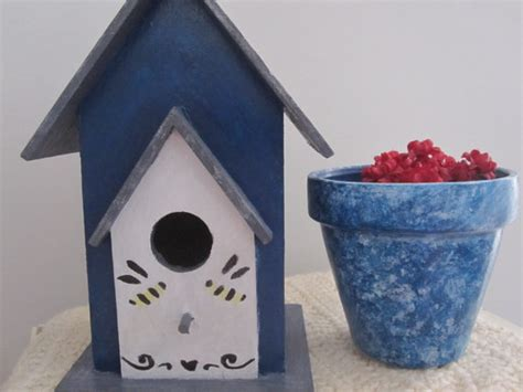 birdhouse painted garden decor home by