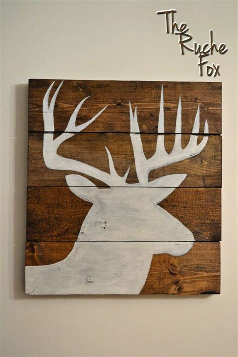 acrylic paint use on wood reclaimed wood deer stag silhouette acrylic painting
