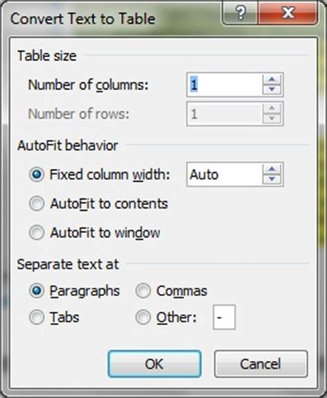 Word Convert Table To Text by Word 2010 Tables