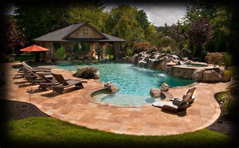swimming pool landscaping tanning ledge with seats poolside pinterest