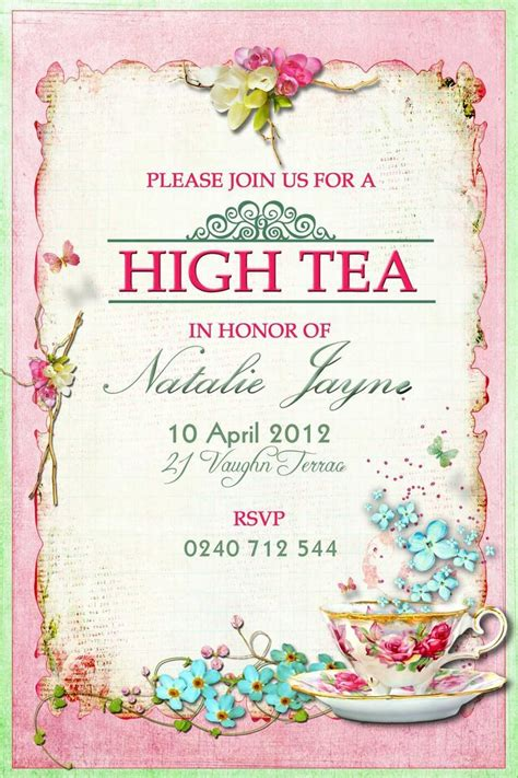 Menu High Tea Menu Template Afternoon Tea Menu Template