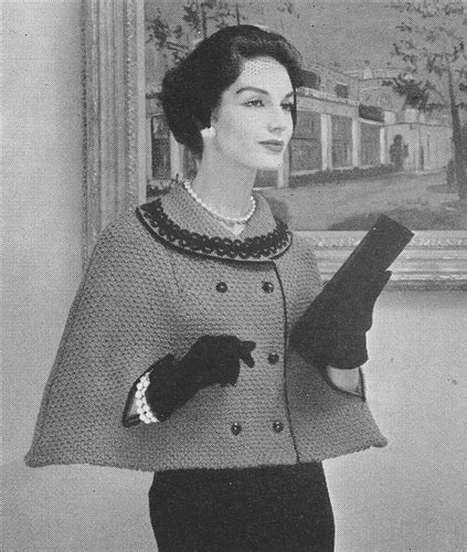 vintage geometric pattern knitting cape 1950s vintage double knitted breasted cape pattern
