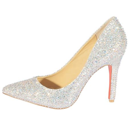 silver high heel shoes with rhinestones high heel closed toes rhinestone sparkling silver