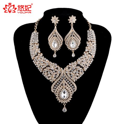 Set Kalung Gold Water Drop statement india style necklace earrings sets bridal wedding necklace water drop type