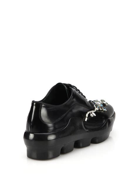 Prada Swarowski prada leather swarovski oxford sneakers in black
