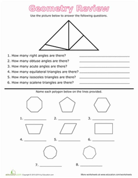 polygons and angles worksheet answers geometry review angles and polygons worksheet education