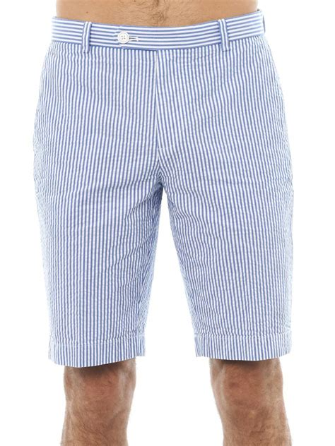 Striped Shorts lyst brothers striped seersucker shorts in blue
