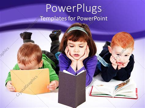 Powerpoint Template Three Young Pupils Reading Books On A White Floor 24552 Reading Powerpoint Template
