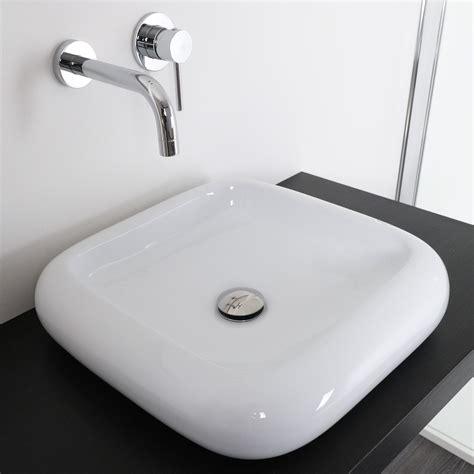 lavabo italiano lavabo da appoggio stondato 46 cm in ceramica bianco
