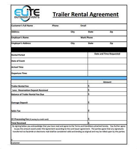 trailer rental agreement templates  sample templates