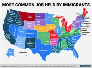 us map charts most common held by immigrants in each us state all