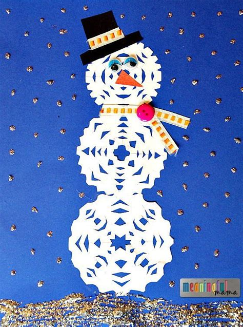 snowflake pattern snowman paper snowman craft for kids allfreekidscrafts com