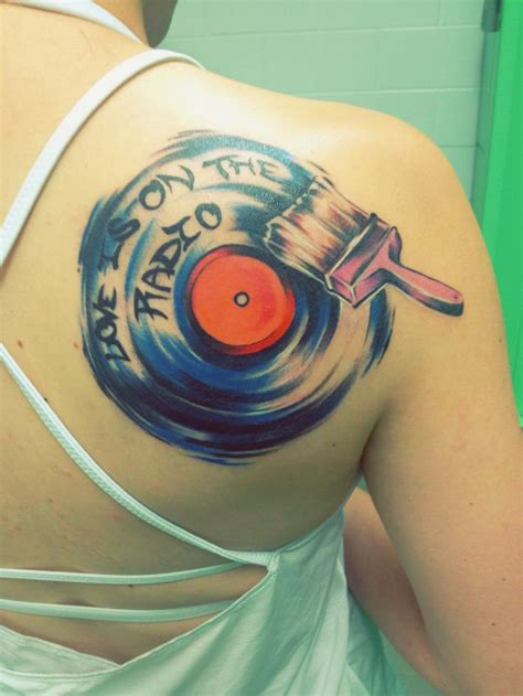 radio tattoos designs painted record i got yesterday quote is on