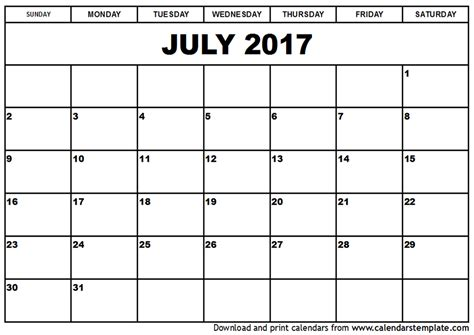 free july 2017 calendar printable template with holidays