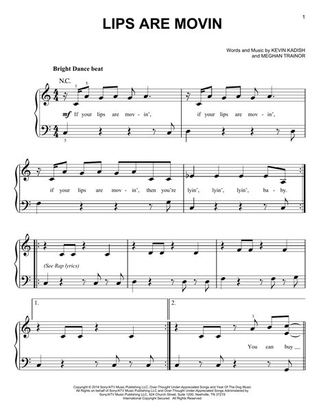 printable lyrics to your lips are moving lips are movin sheet music direct