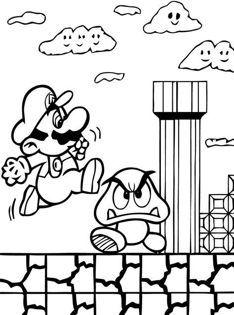 Mario Background Coloring Page   des coloriages gratuits super mario 224 imprimer et 224