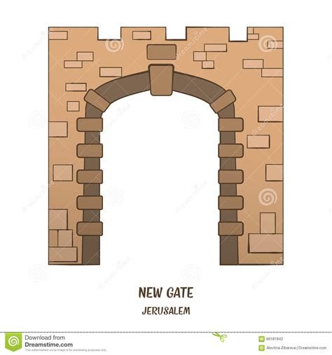 new year gate vector new gate in jerusalem vector stock illustration image