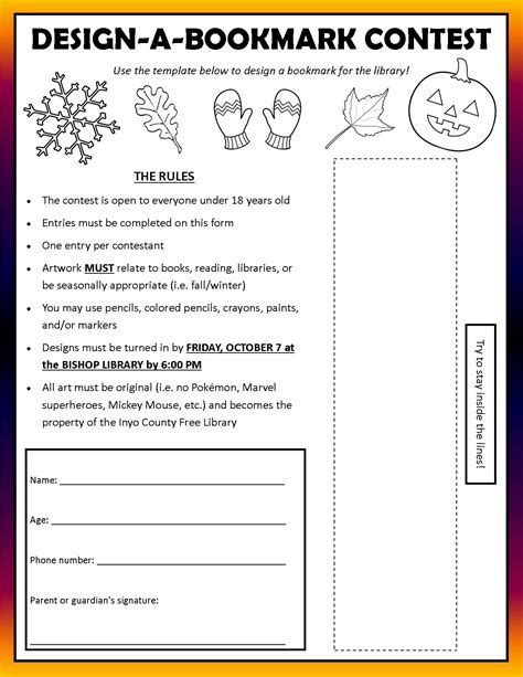 contest form template design a bookmark contest at bishop library wave