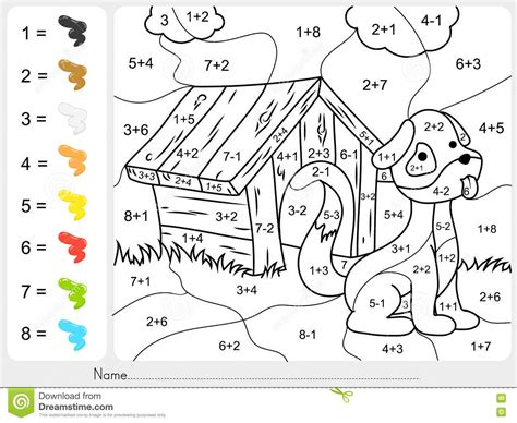 color by number subtraction paint color by addition and subtraction numbers stock