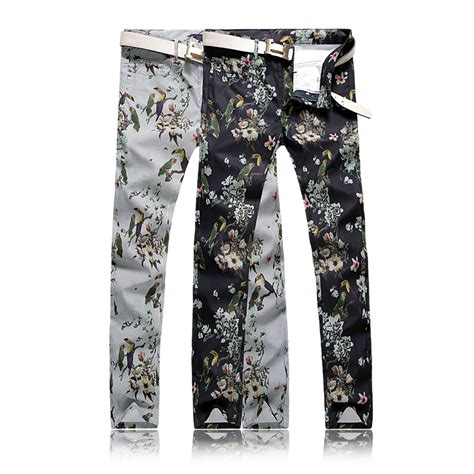 pattern black and white pants new fashion men s floral pants cotton washed casual black