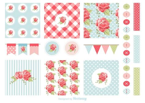 free shabby chic patterns and garlands vector download